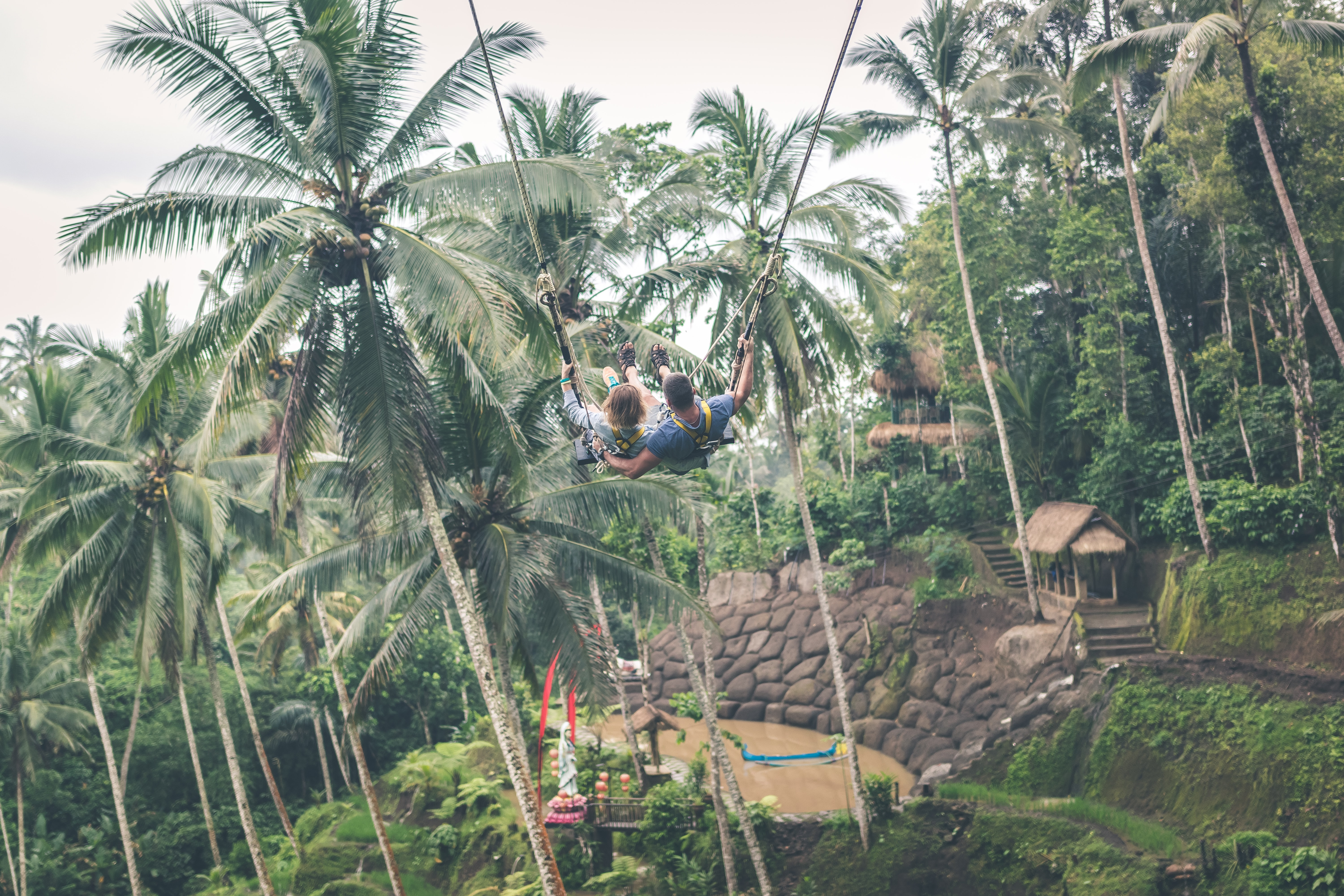two person zip-lining