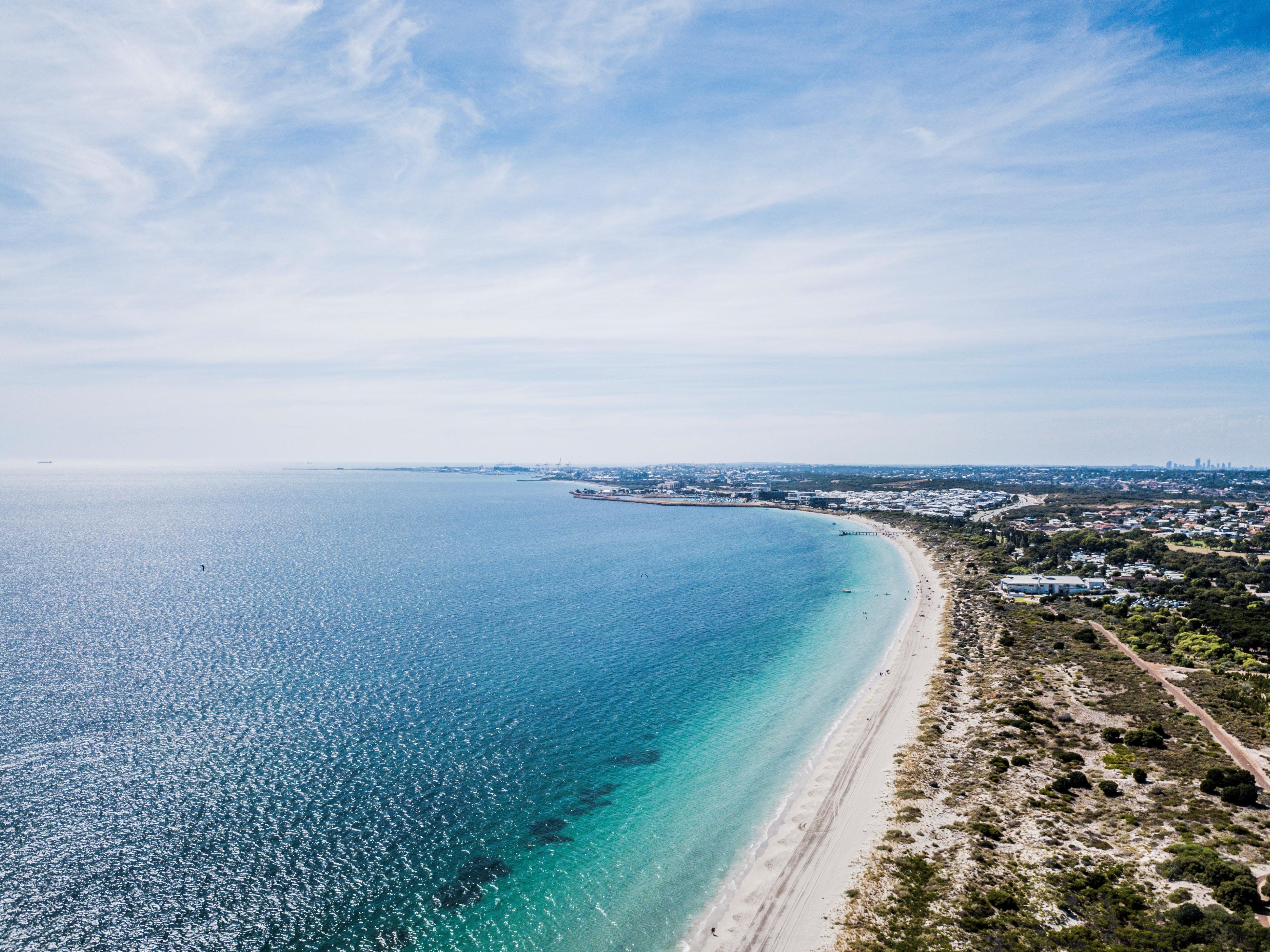 aerial photo of long seashore