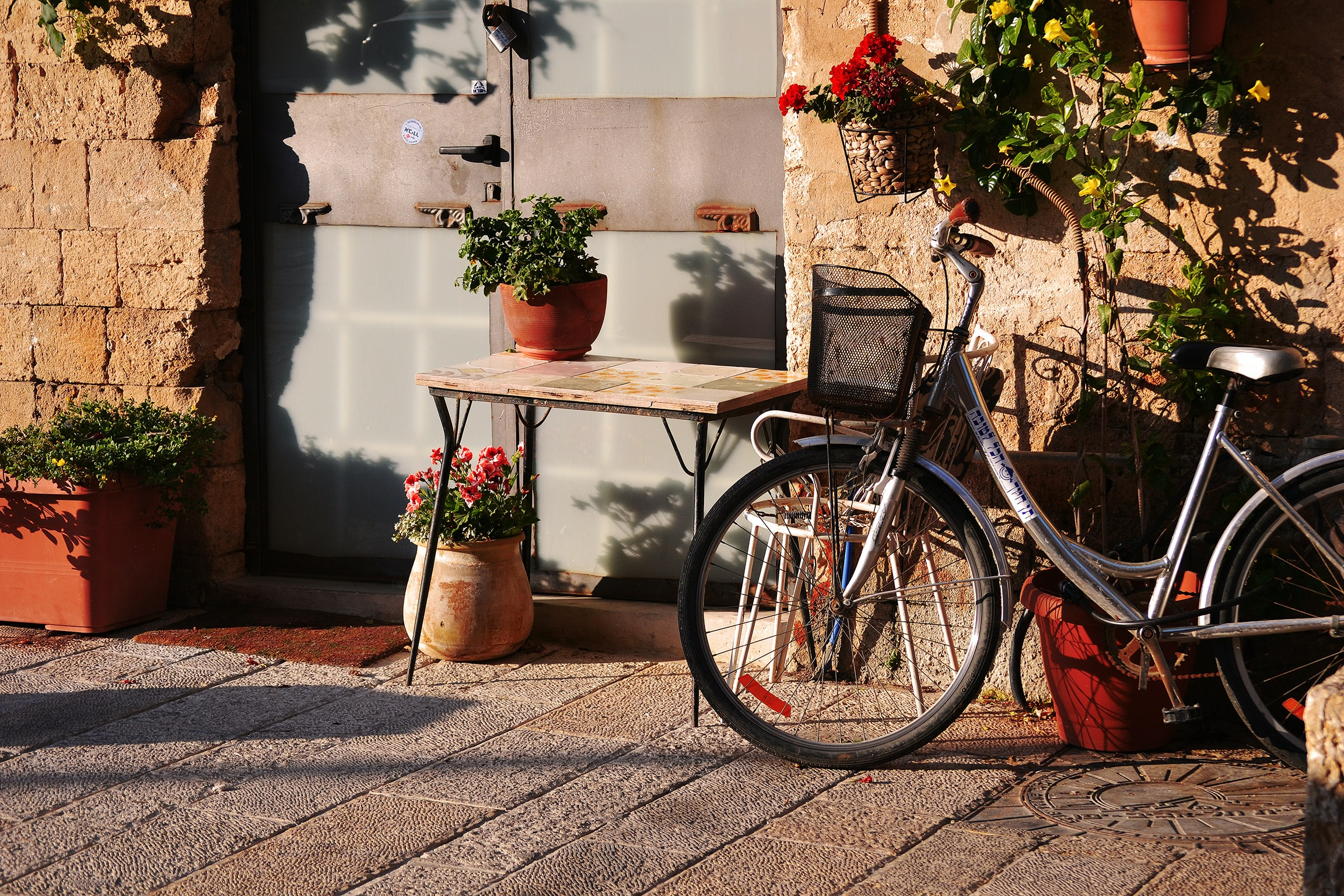 gray cruiser bike parked near table with plant on top