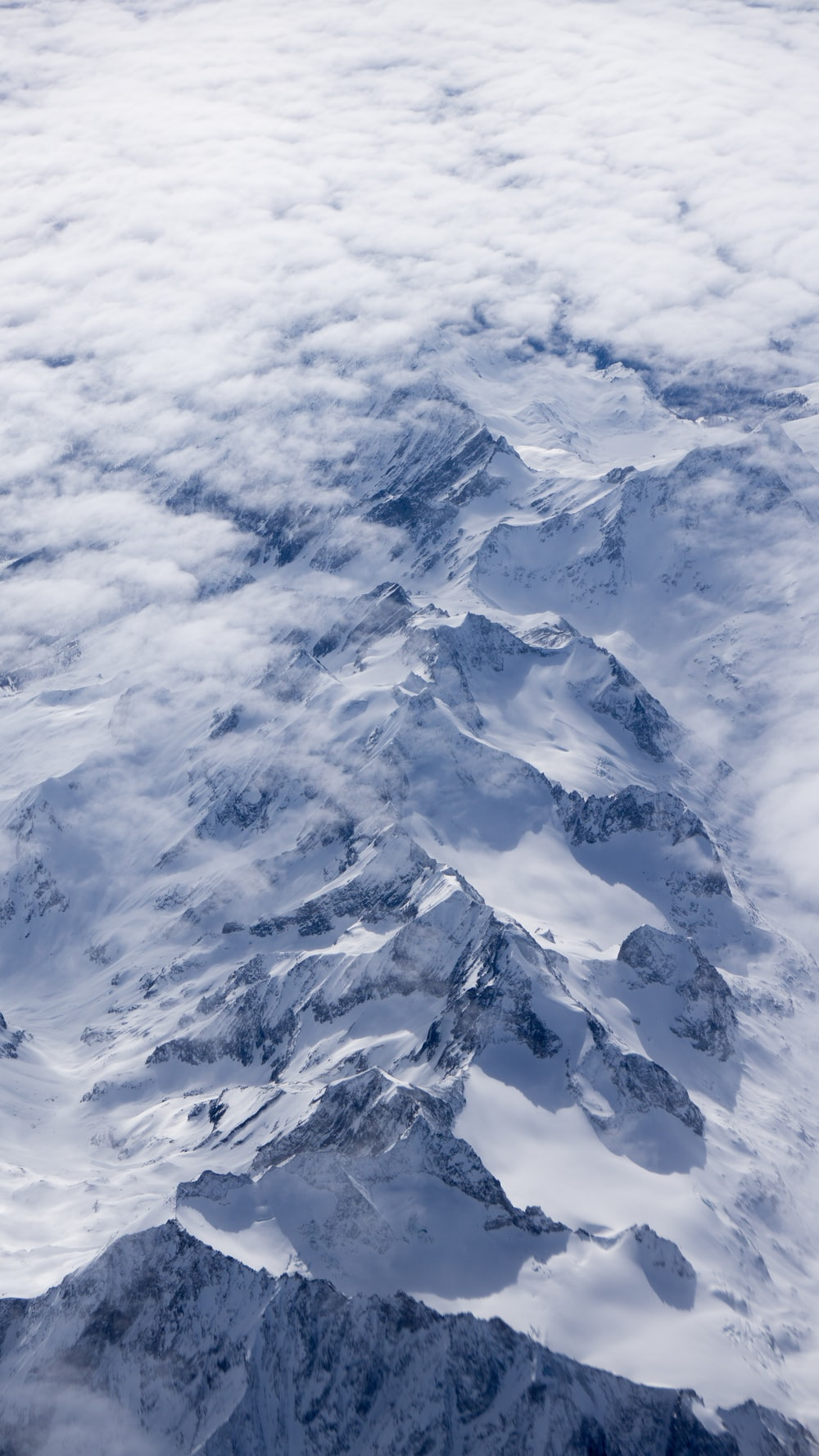 aerial photography of snow mountain