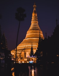 brown temple with lights during night time