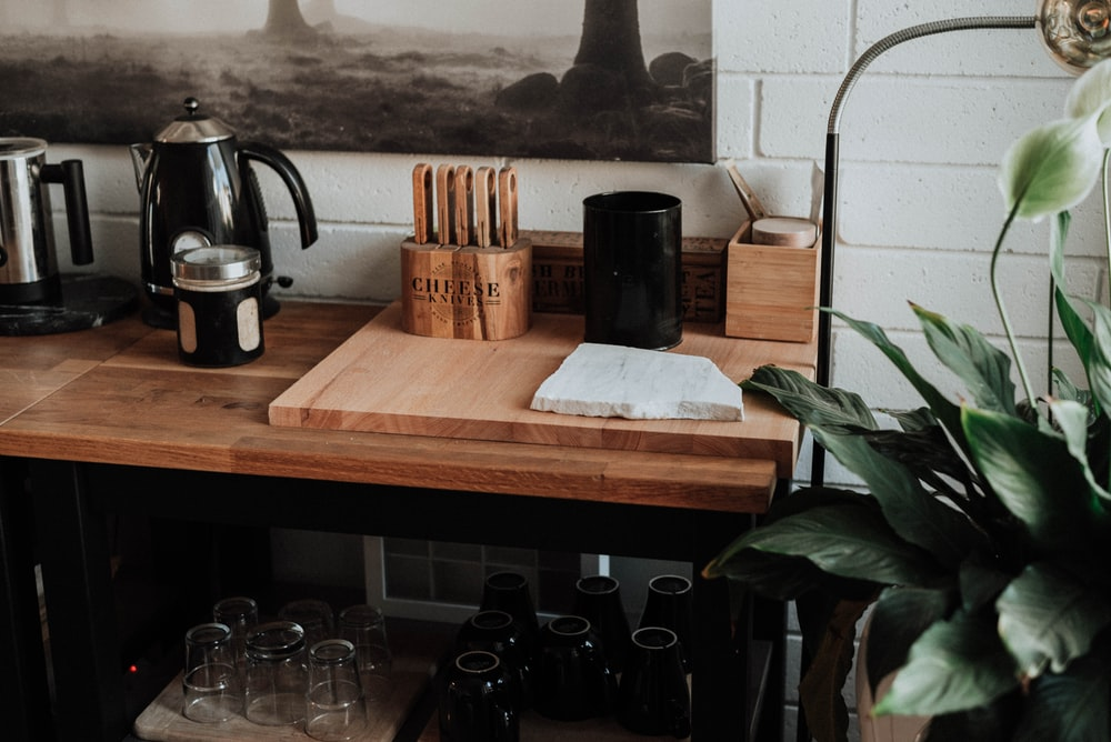 brown wooden organizer on table