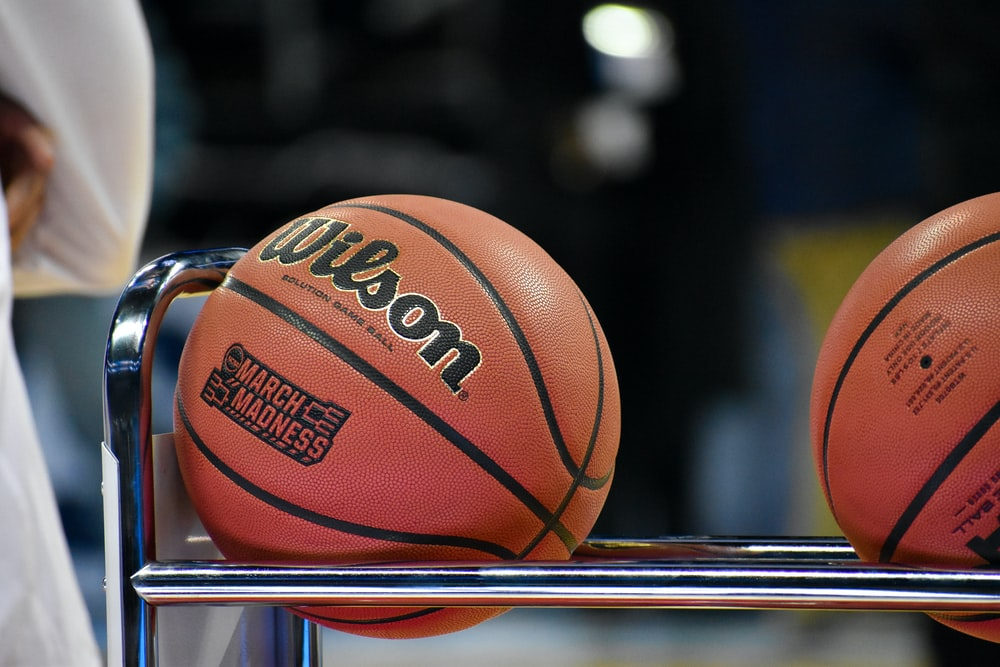 Wilson basketball on rack