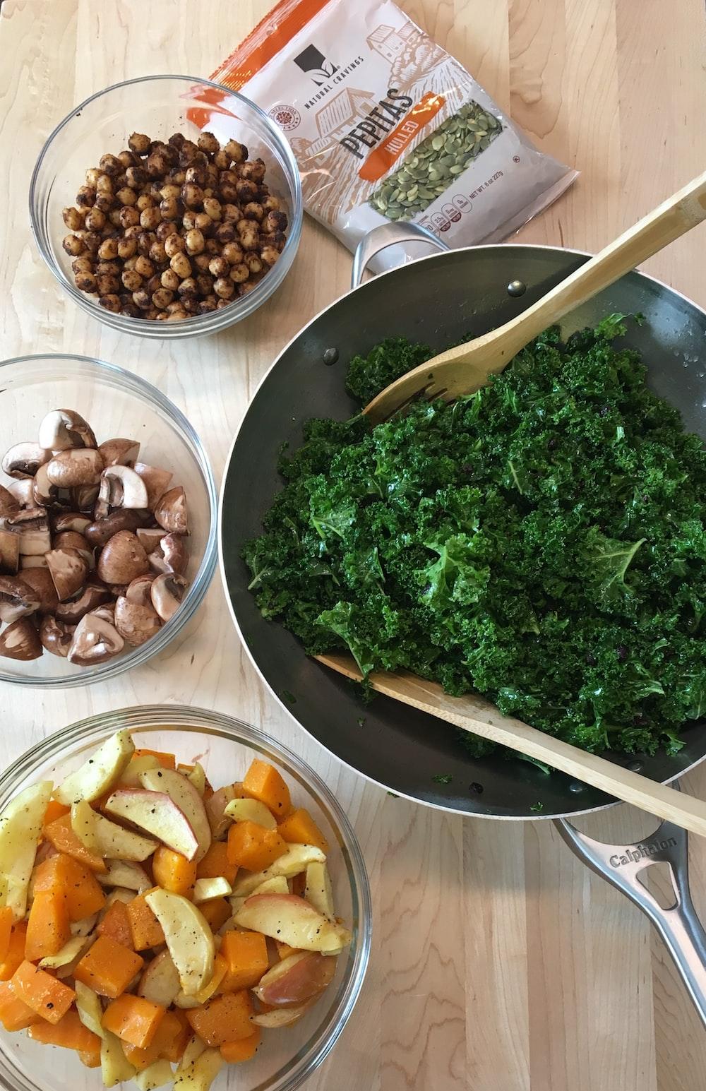 green vegetable on fan