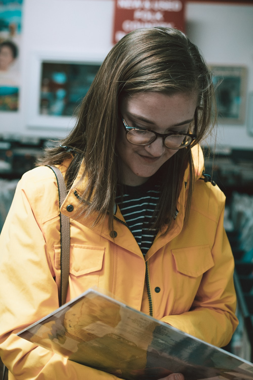 woman reading on menu
