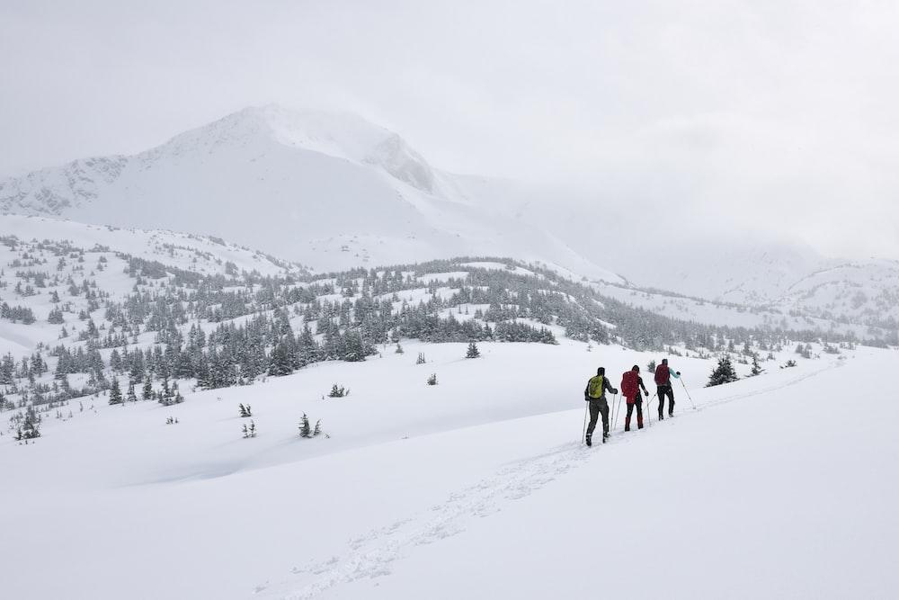 three people walking on snow