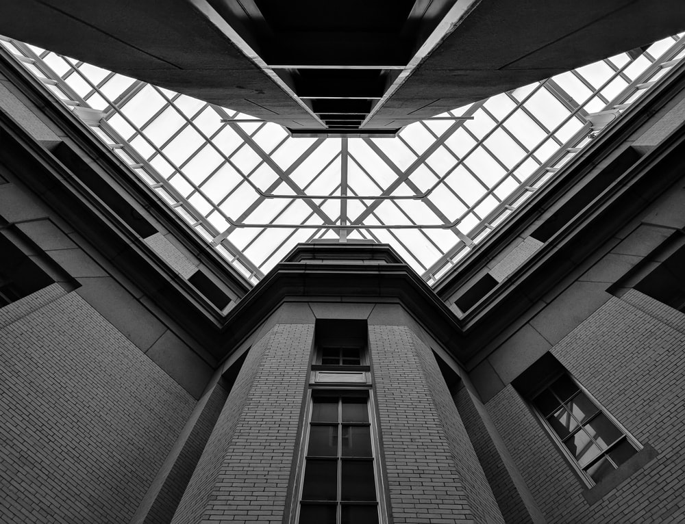 low angle photography inside the building