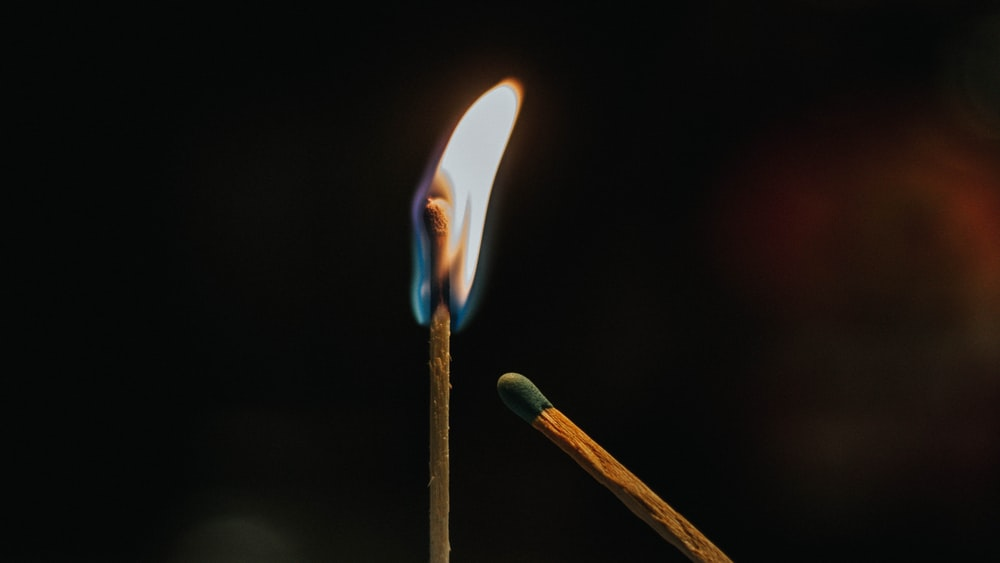 lighted match stick