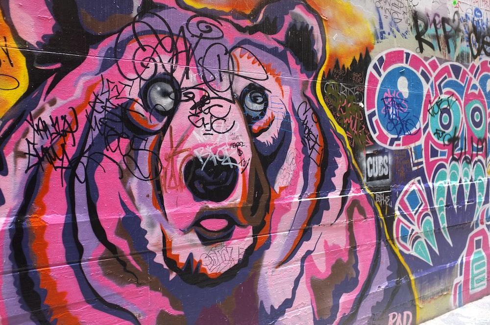 pink bear painted wall