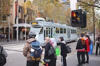 people standing near traffic lights
