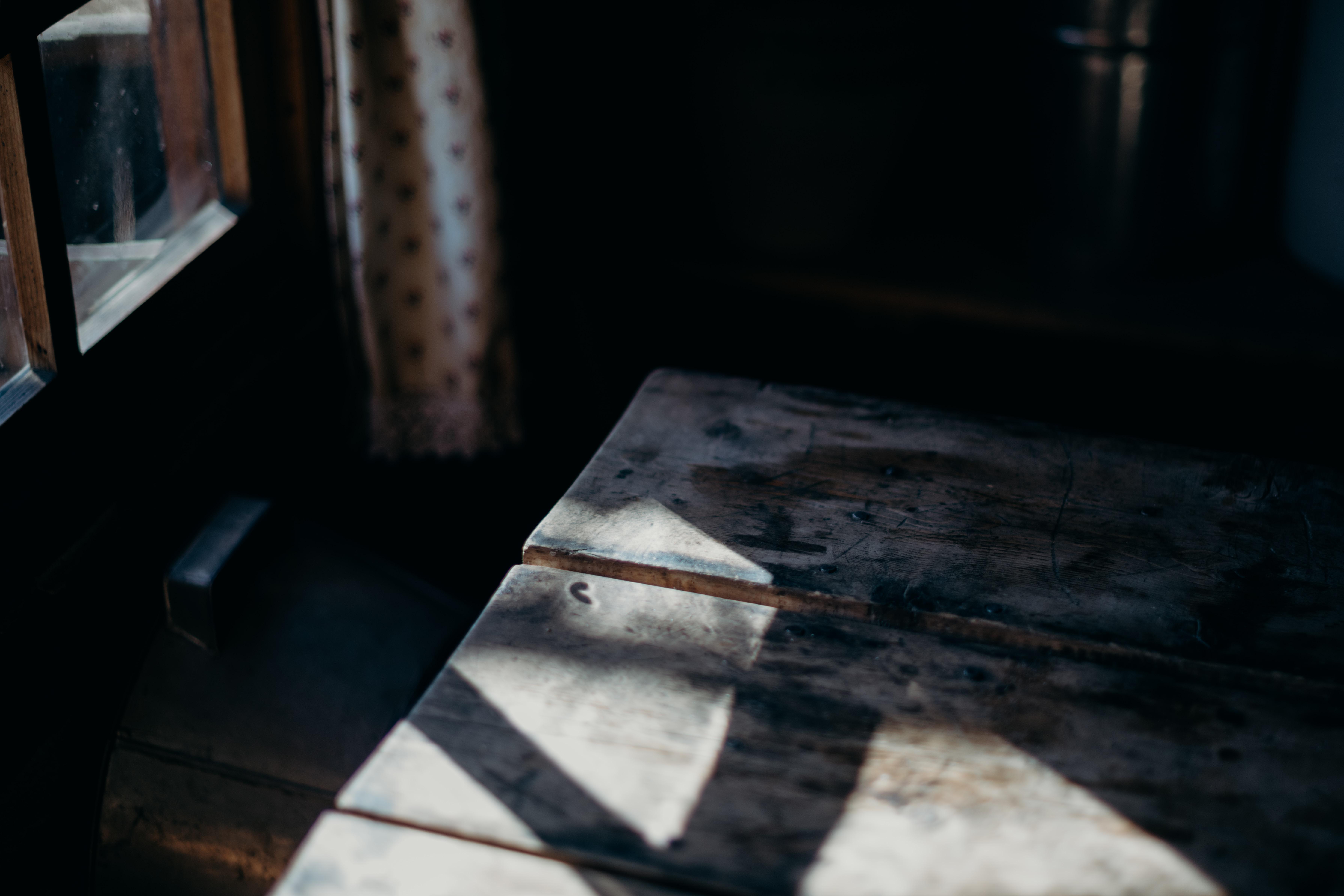 brown curtain inside room