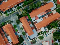aerial photography of white and orange houses