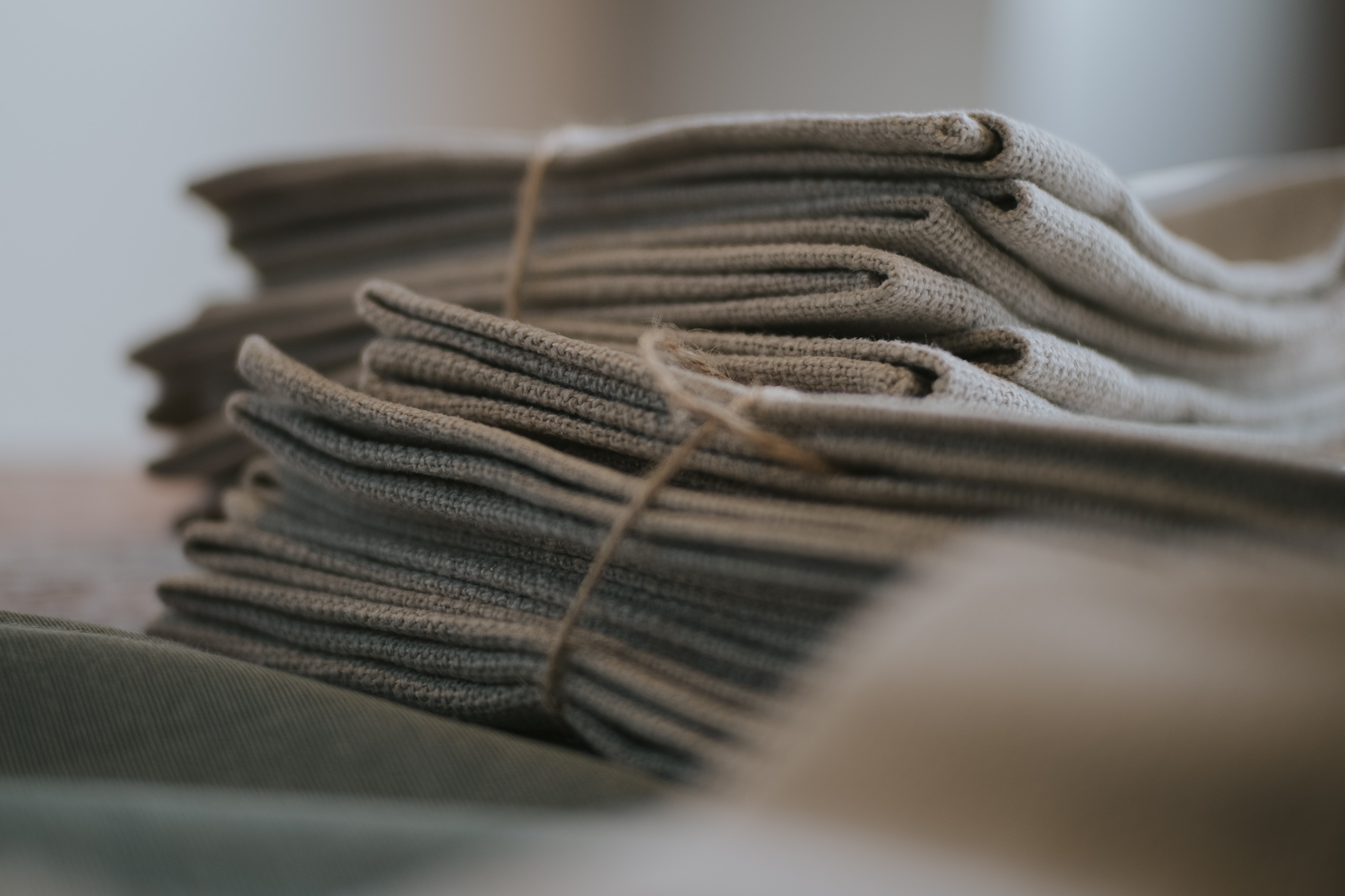 gray textile in shallow focus shot
