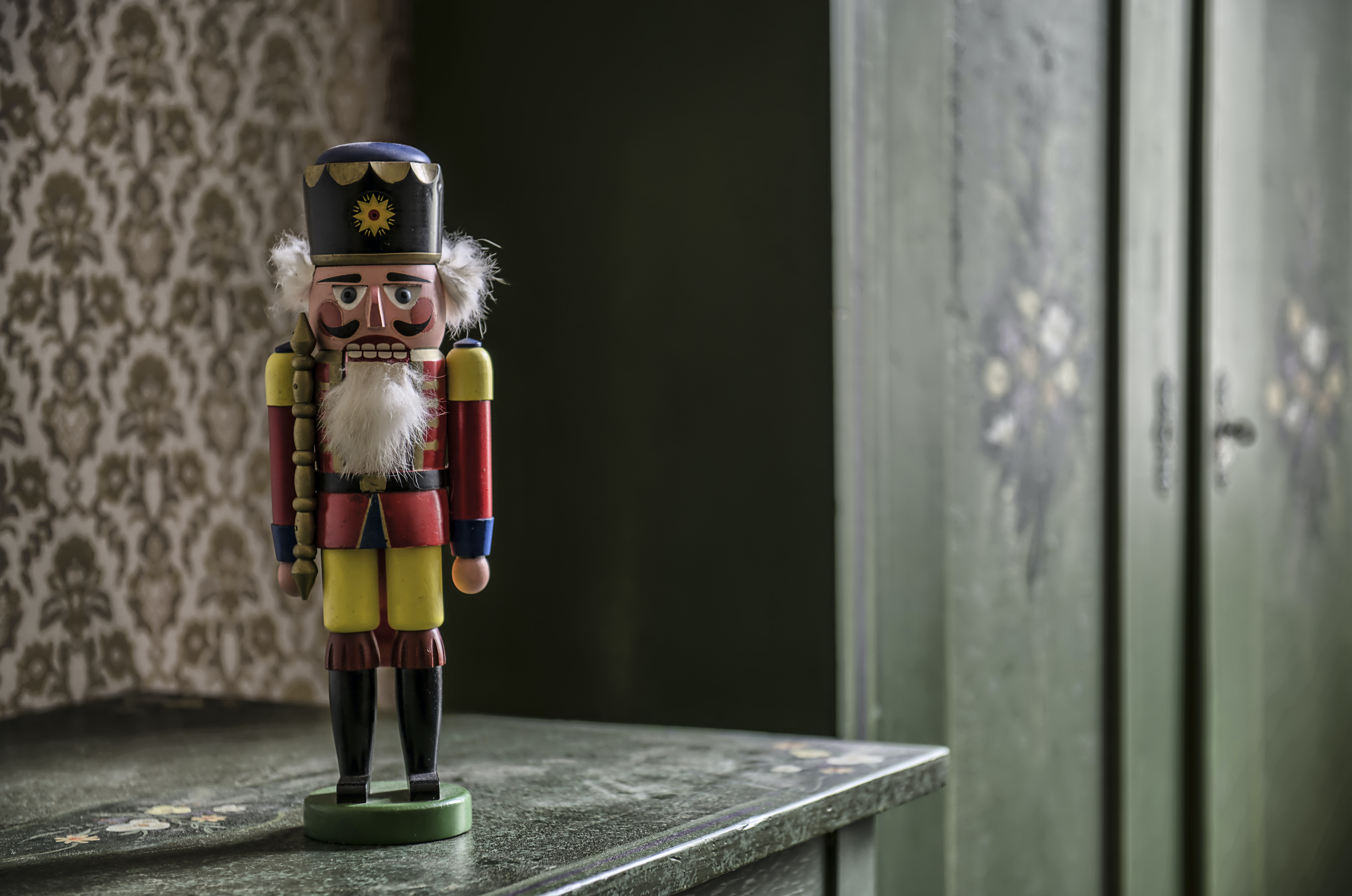 nutcracker on gray table