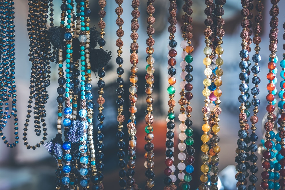 close up photo of beaded necklaces