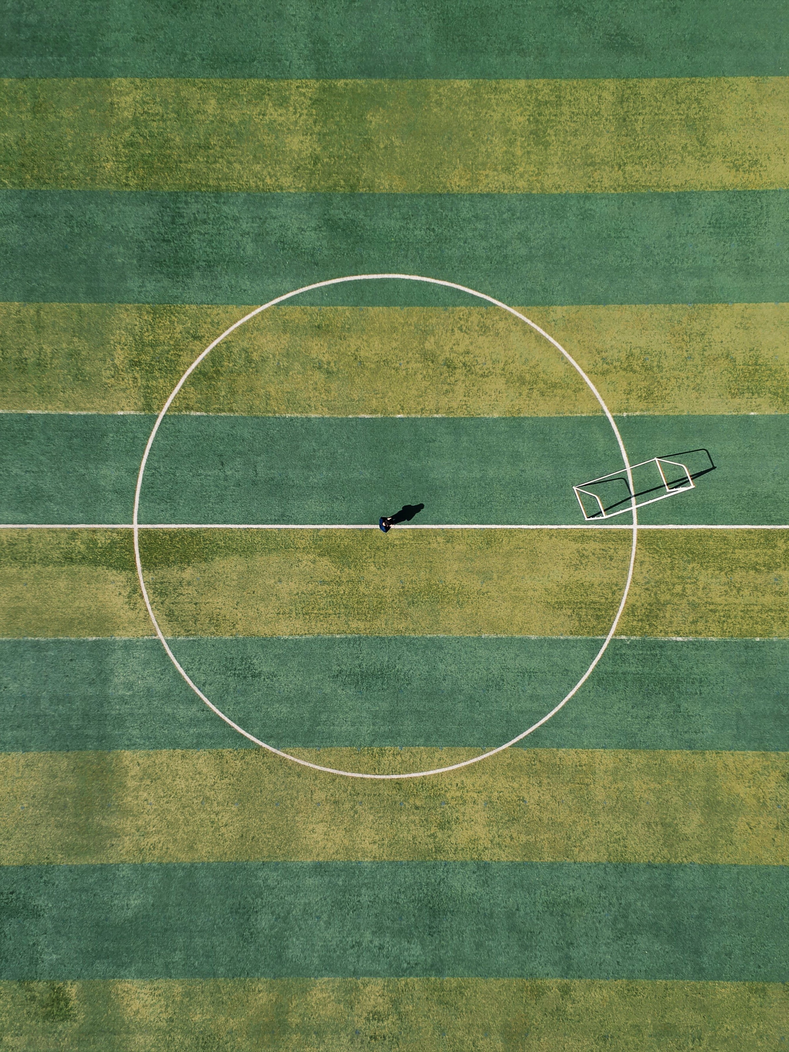 aerial view of person standing between circle field during daytime