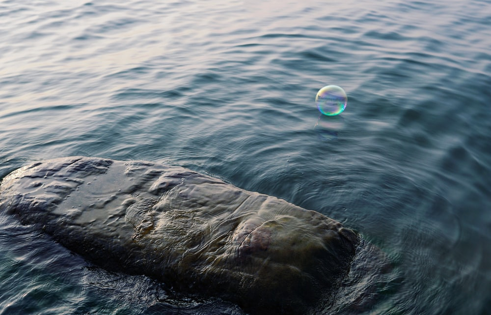 time lapse photography of bubble above rock formation