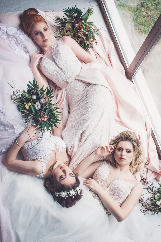 women's pink floral wedding dress