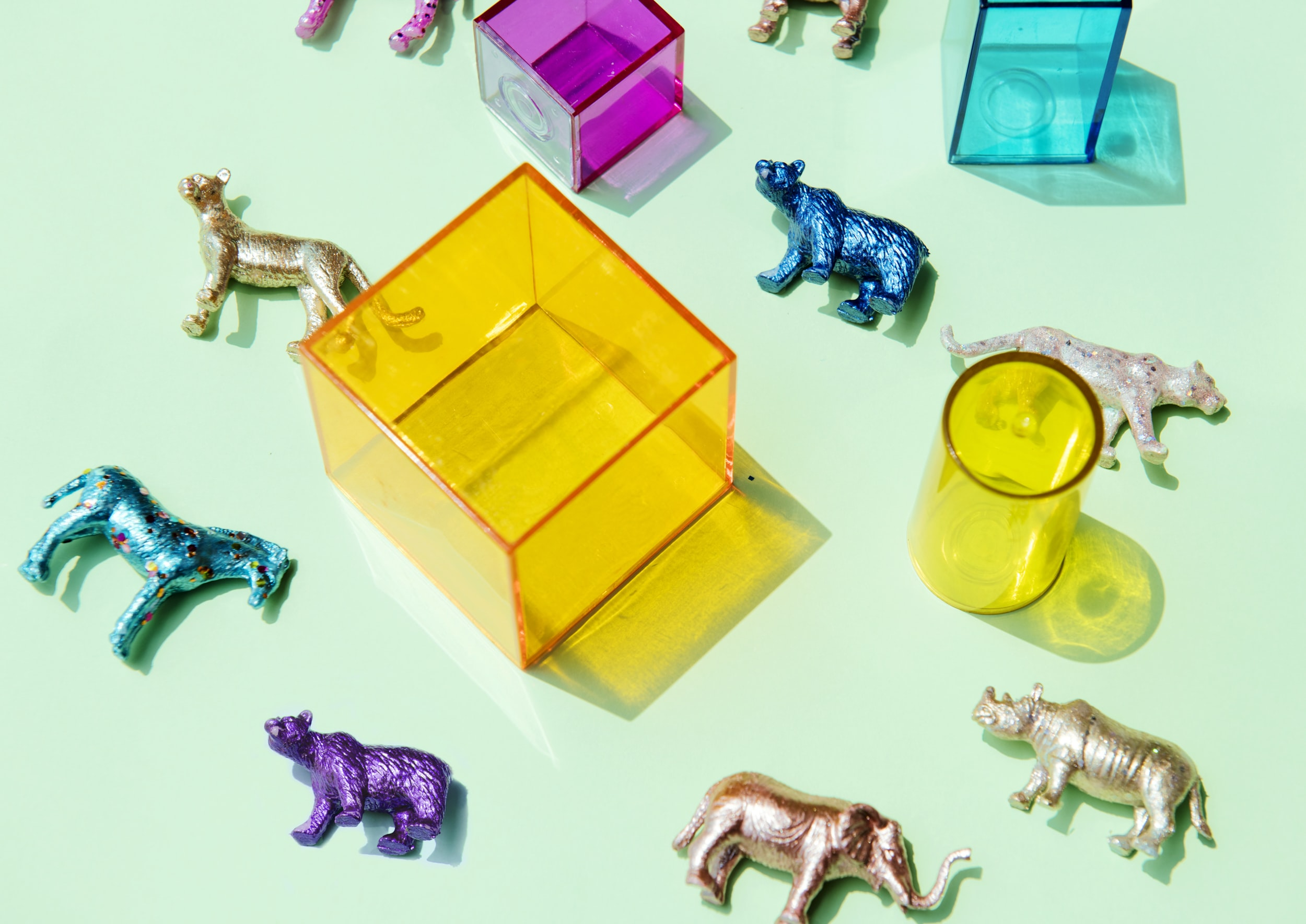 assorted-color animal toy with boxes