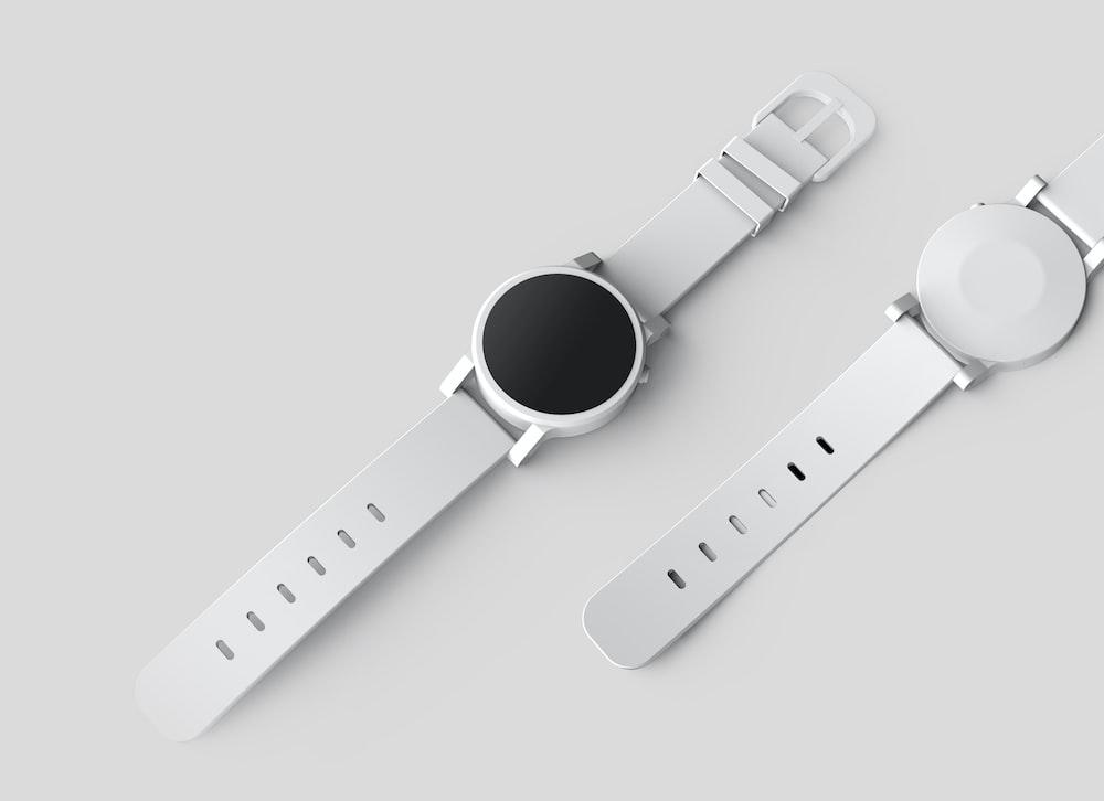 round white watch with white band