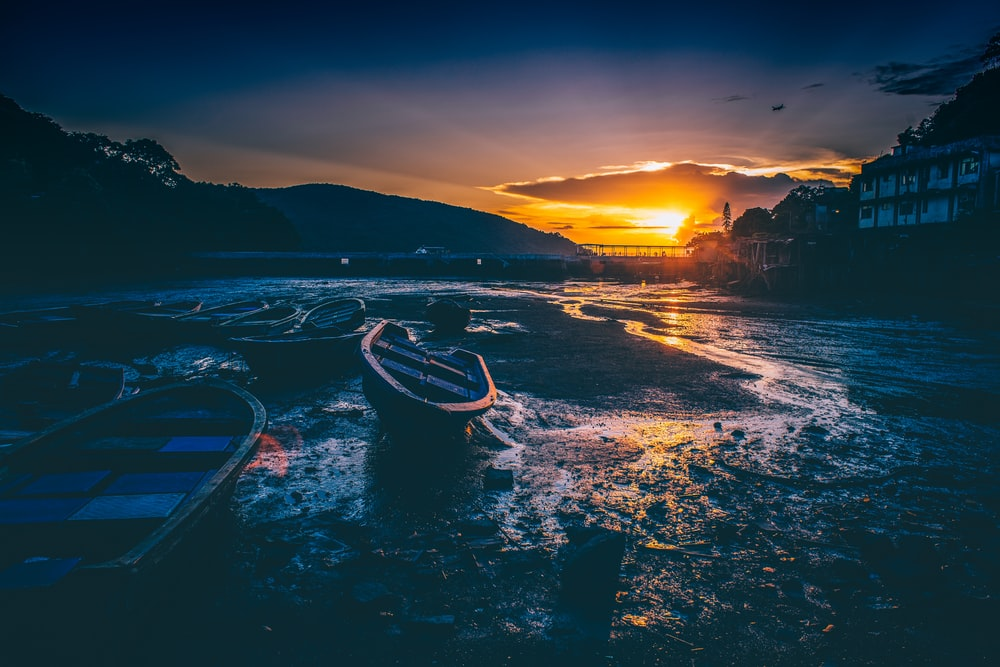 boats on seashore at golden hour
