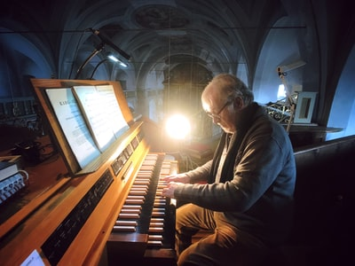 This is my dad training to play the organ in his very old local church.