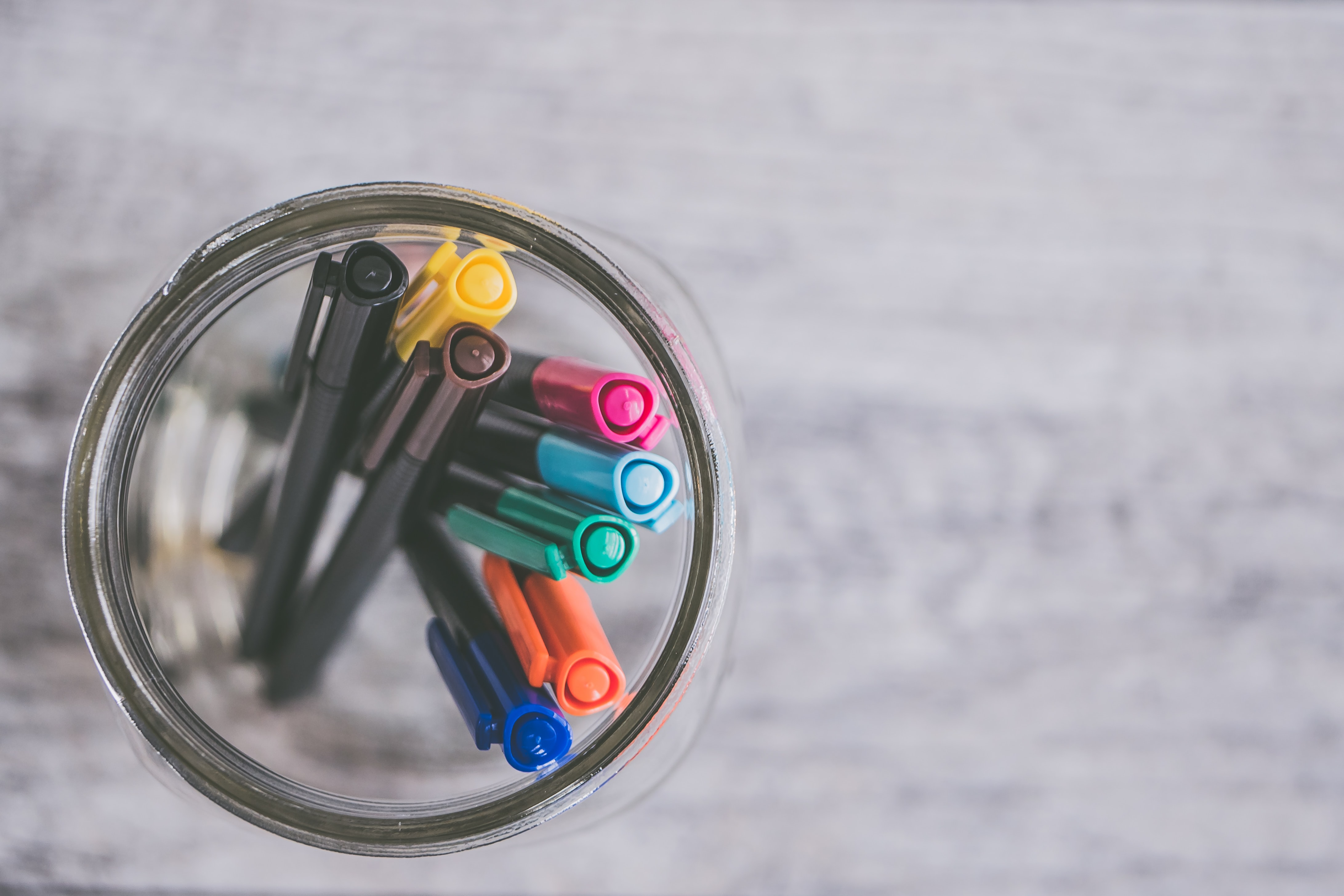 markers in jar