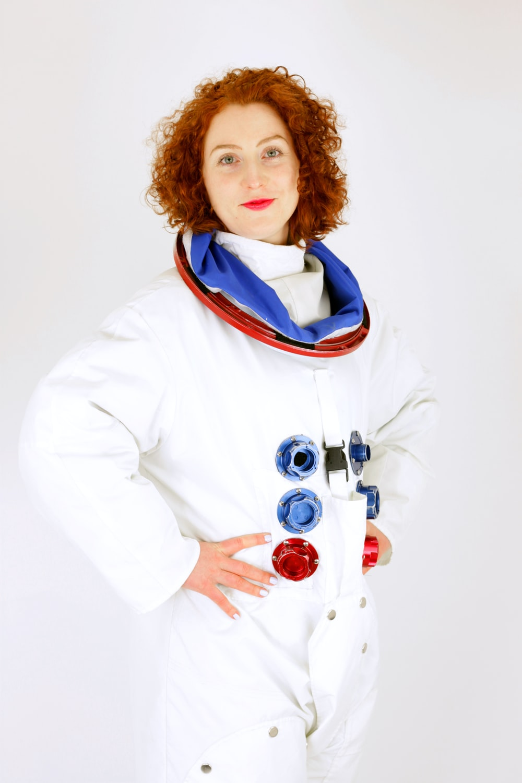 woman wearing white suit