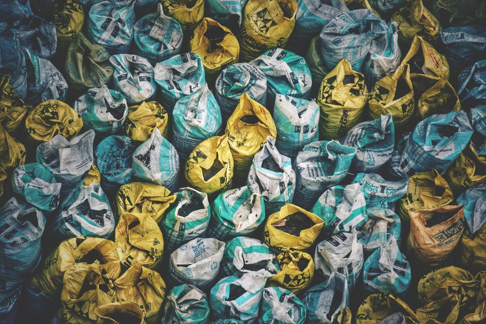 high-angle photography of assorted-color sack lot