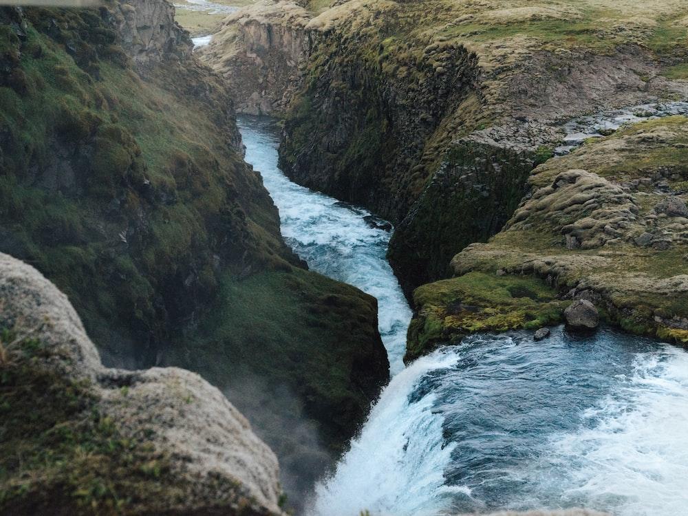 waterfalls between rocks