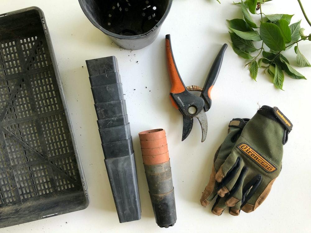 black pruning shears beside green gloves