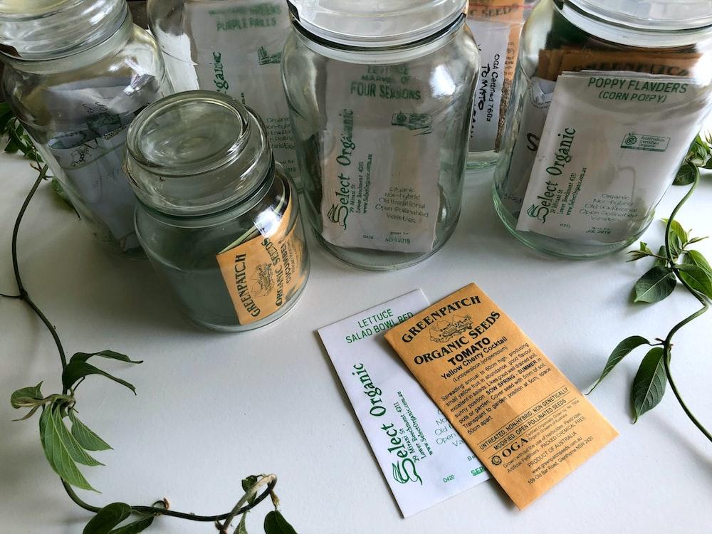 glass mason jars with seed sachet inside