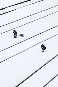 black post on snow