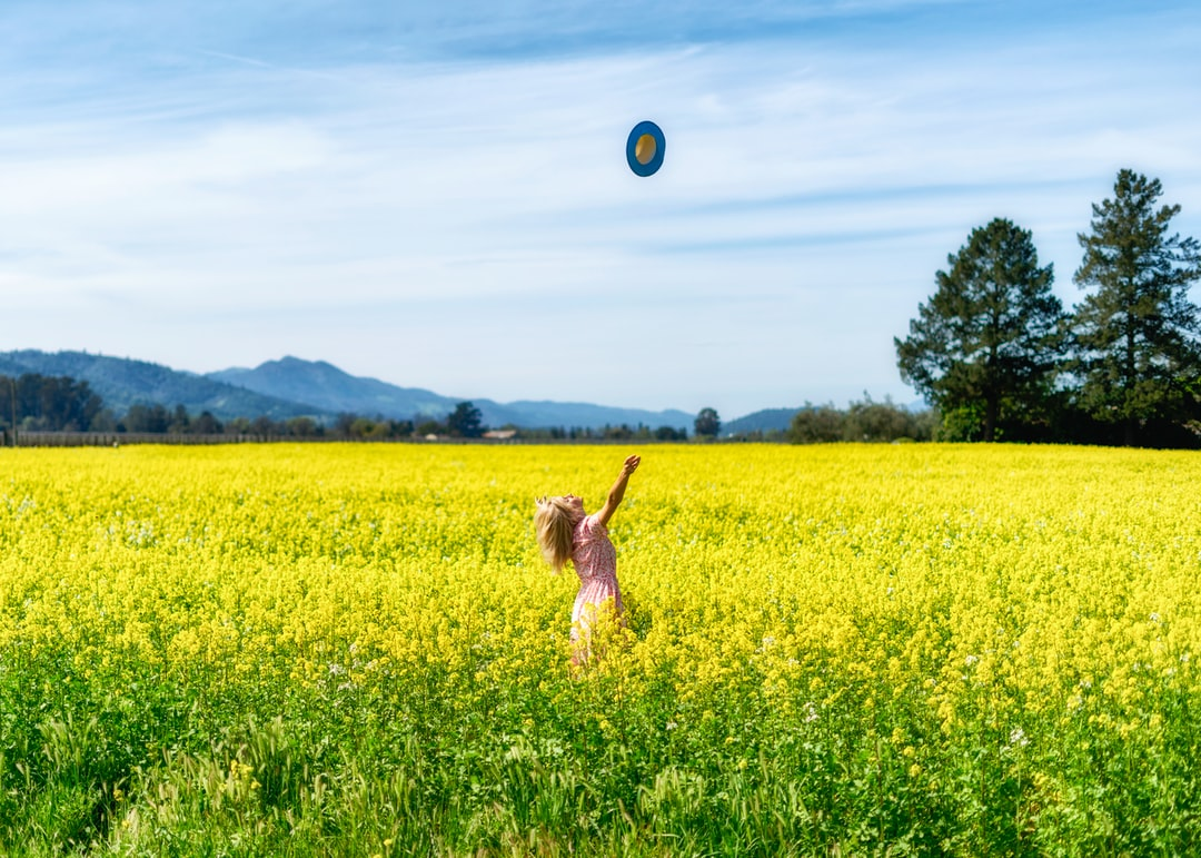 woman surrounded by yellow petaled flowers throwing hat upward