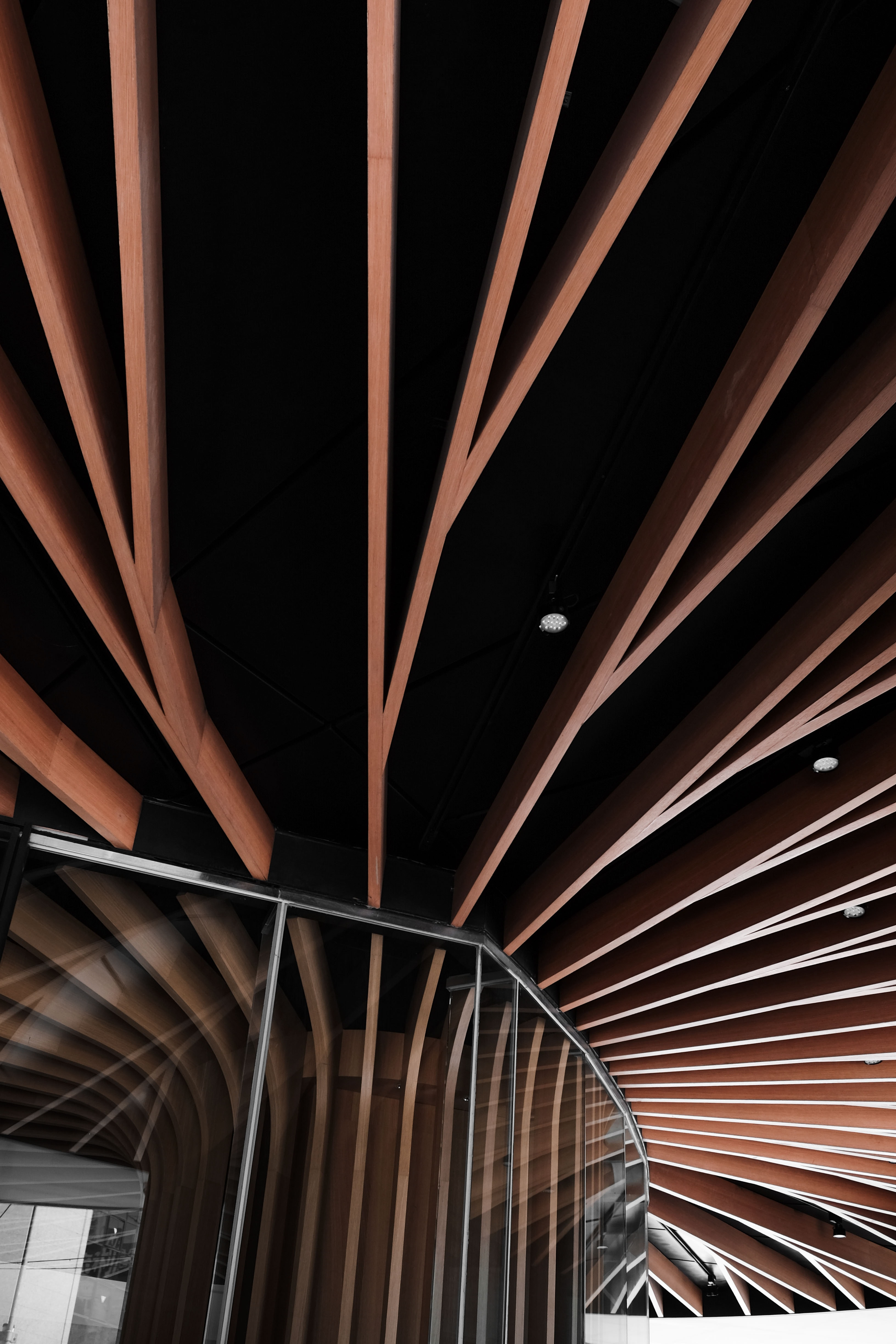 low angled photography of brown ceiling