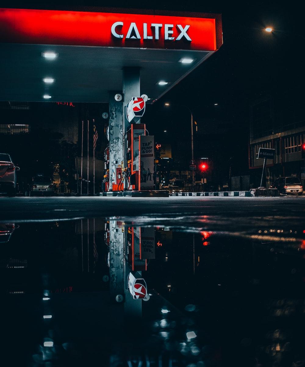 landscape photo of Caltex gasoline station