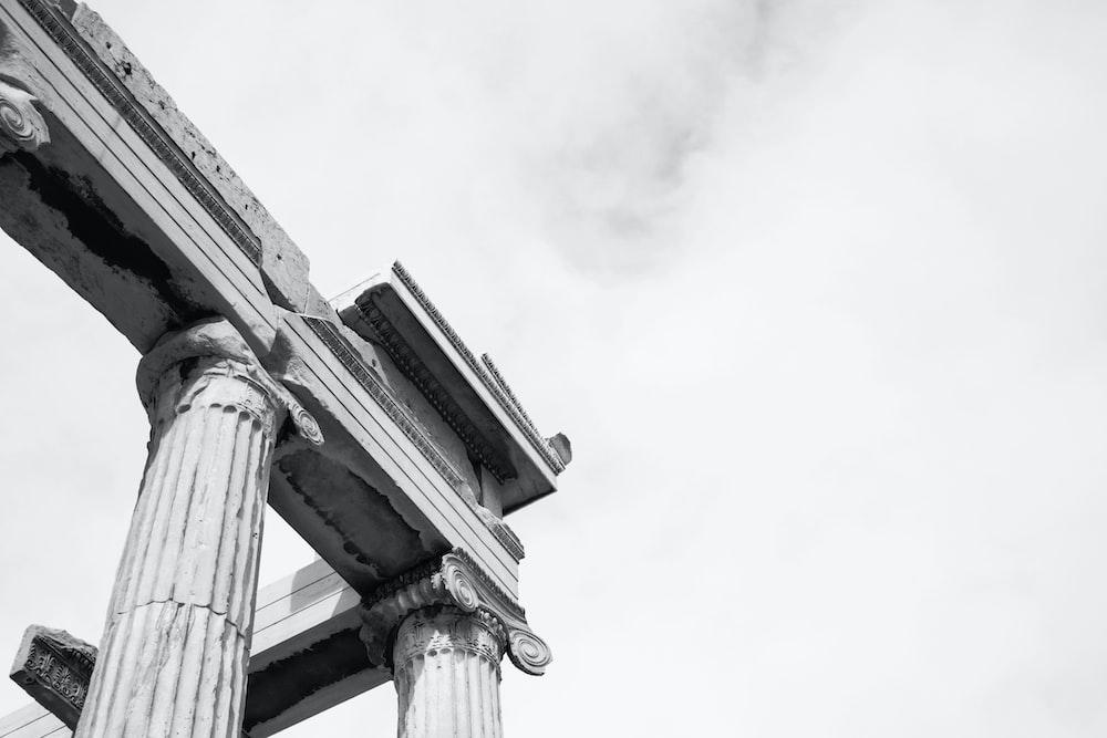 worm's-eye view of pillars