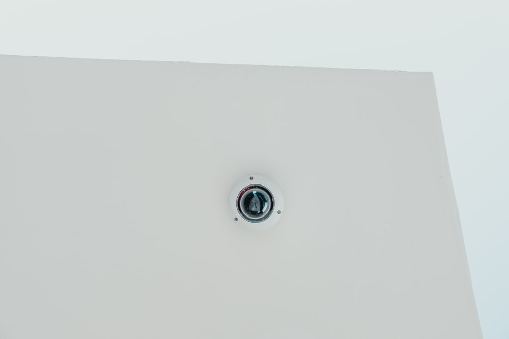 white and black dome security camera