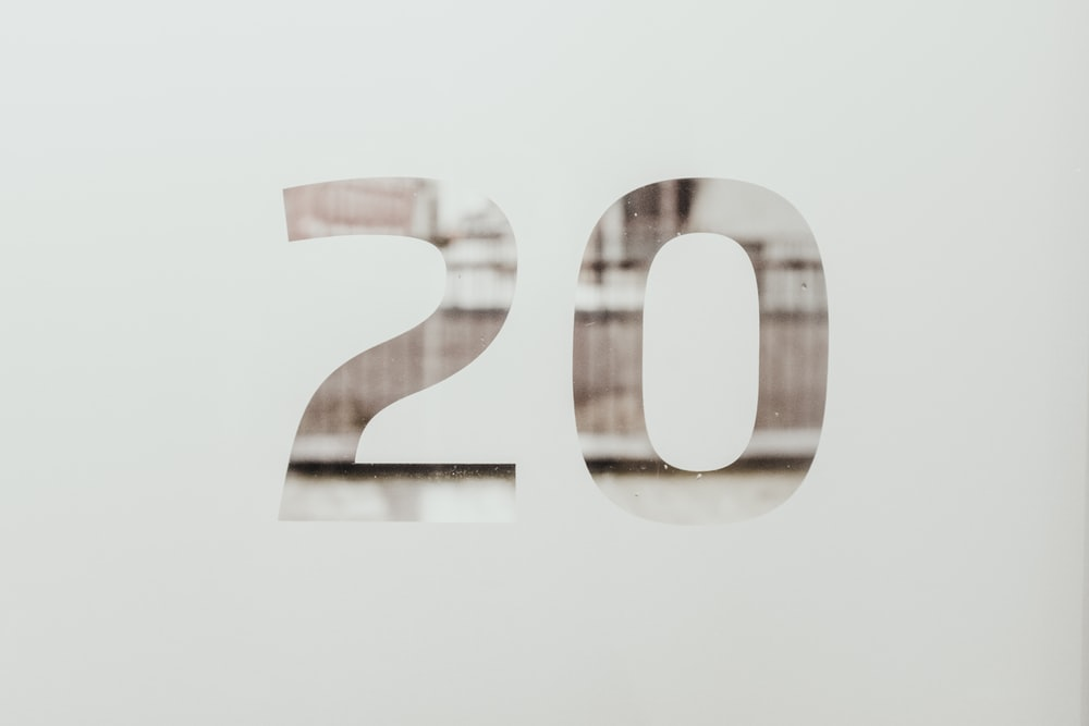 white background with 20 text overlay
