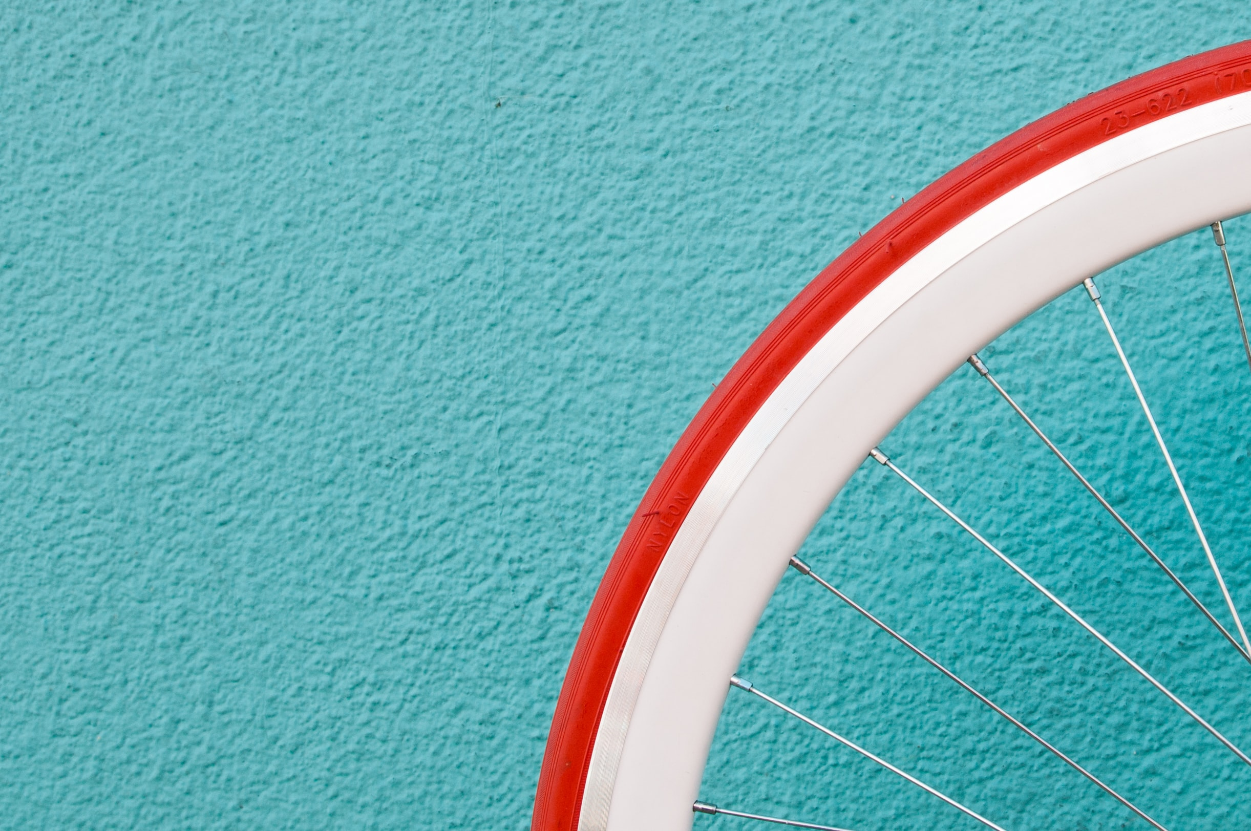 photo of red and white bike tire