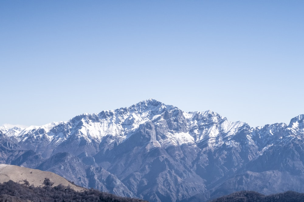snow covered mountain under clear sky