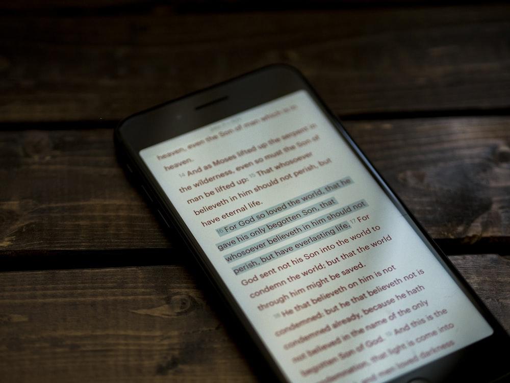 black smartphone screengrab