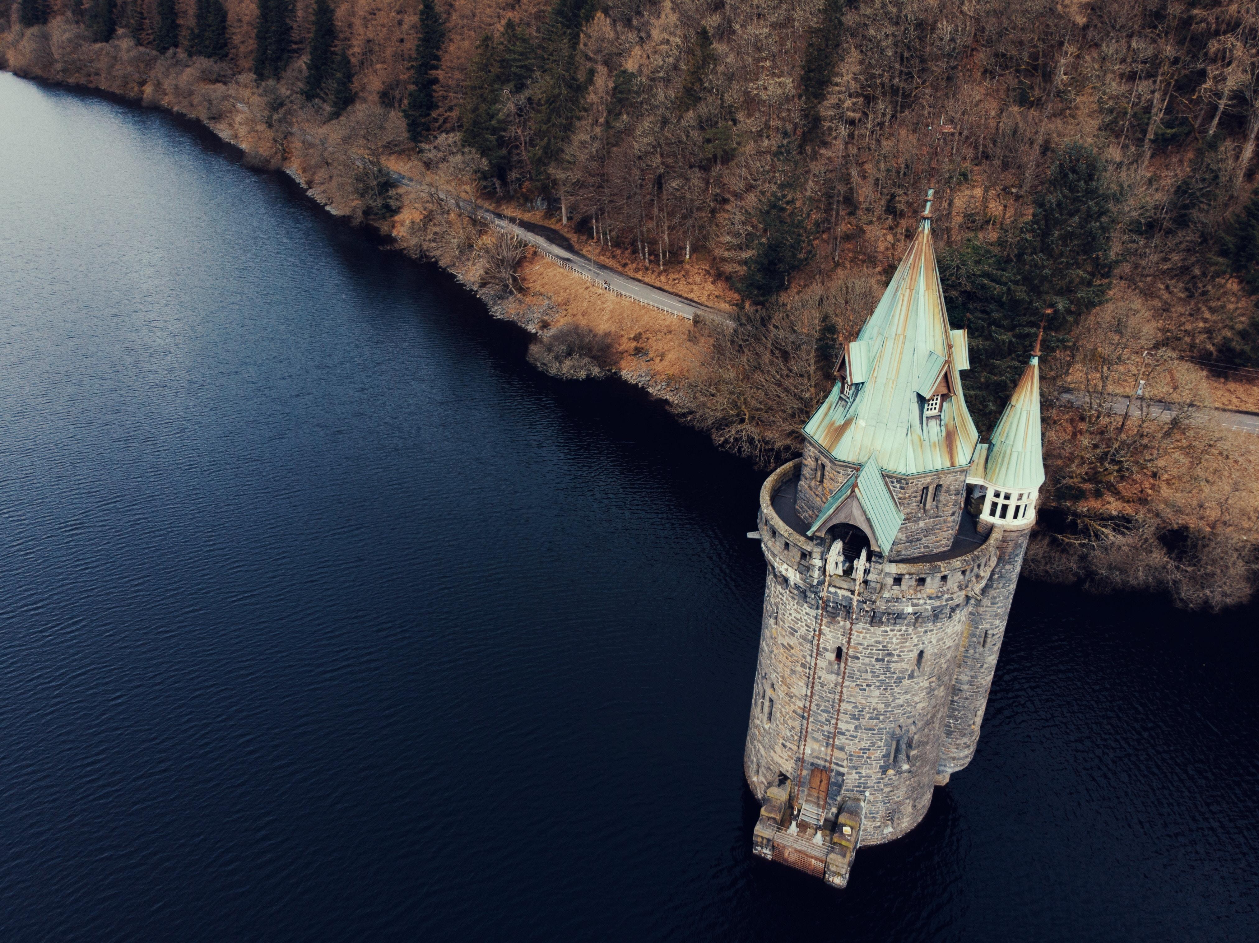 high-angle view of gray concrete castle