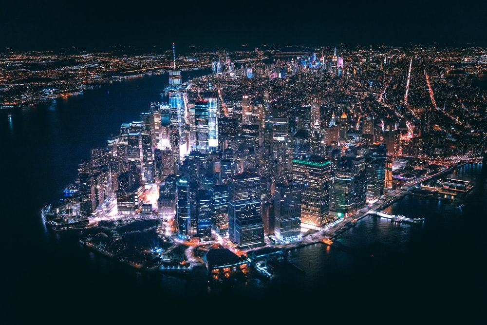 aerial view of city buildings during nighttime