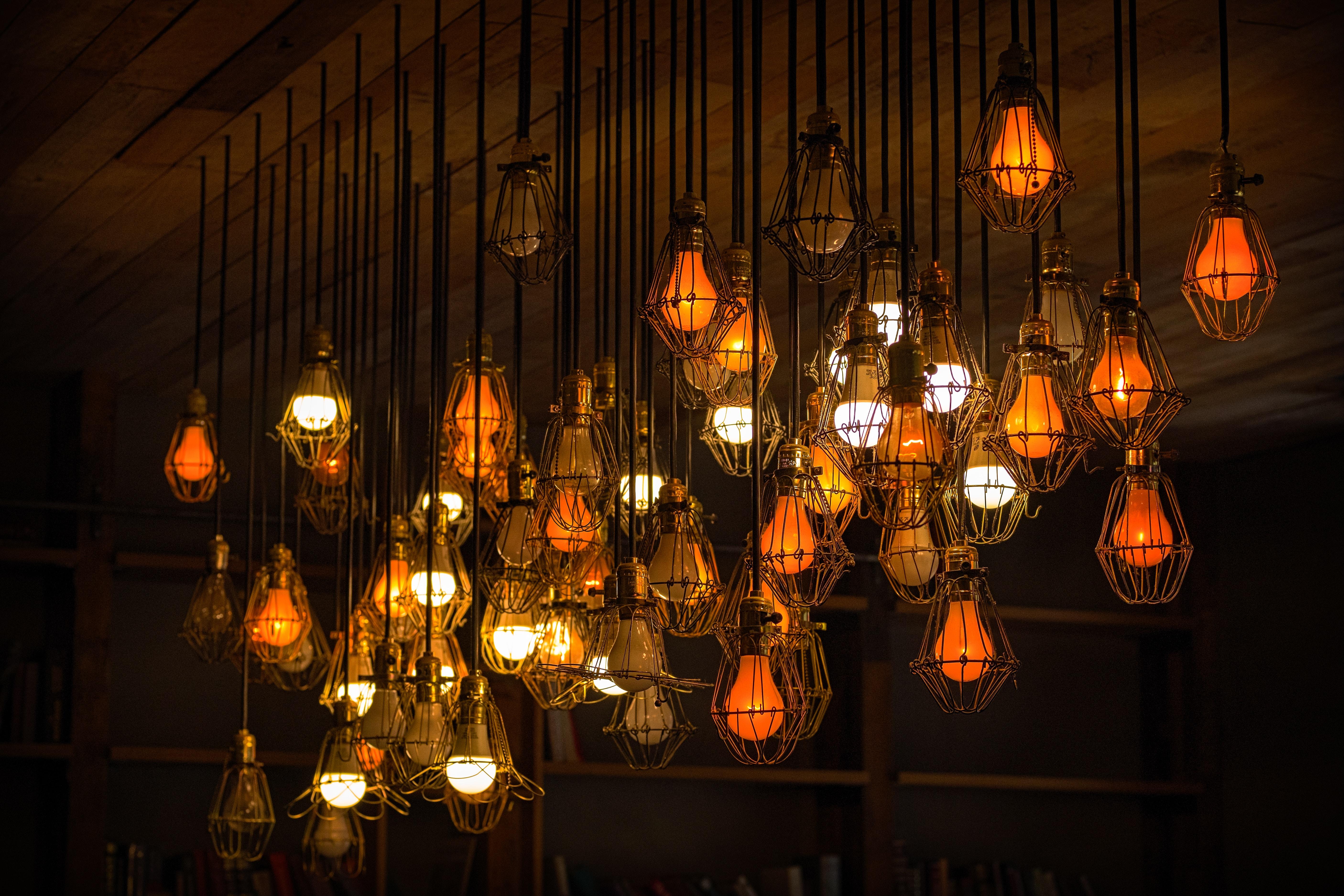 hanging light bulbs lot