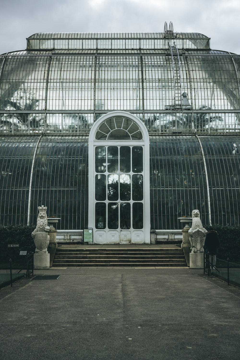white steel gate garden