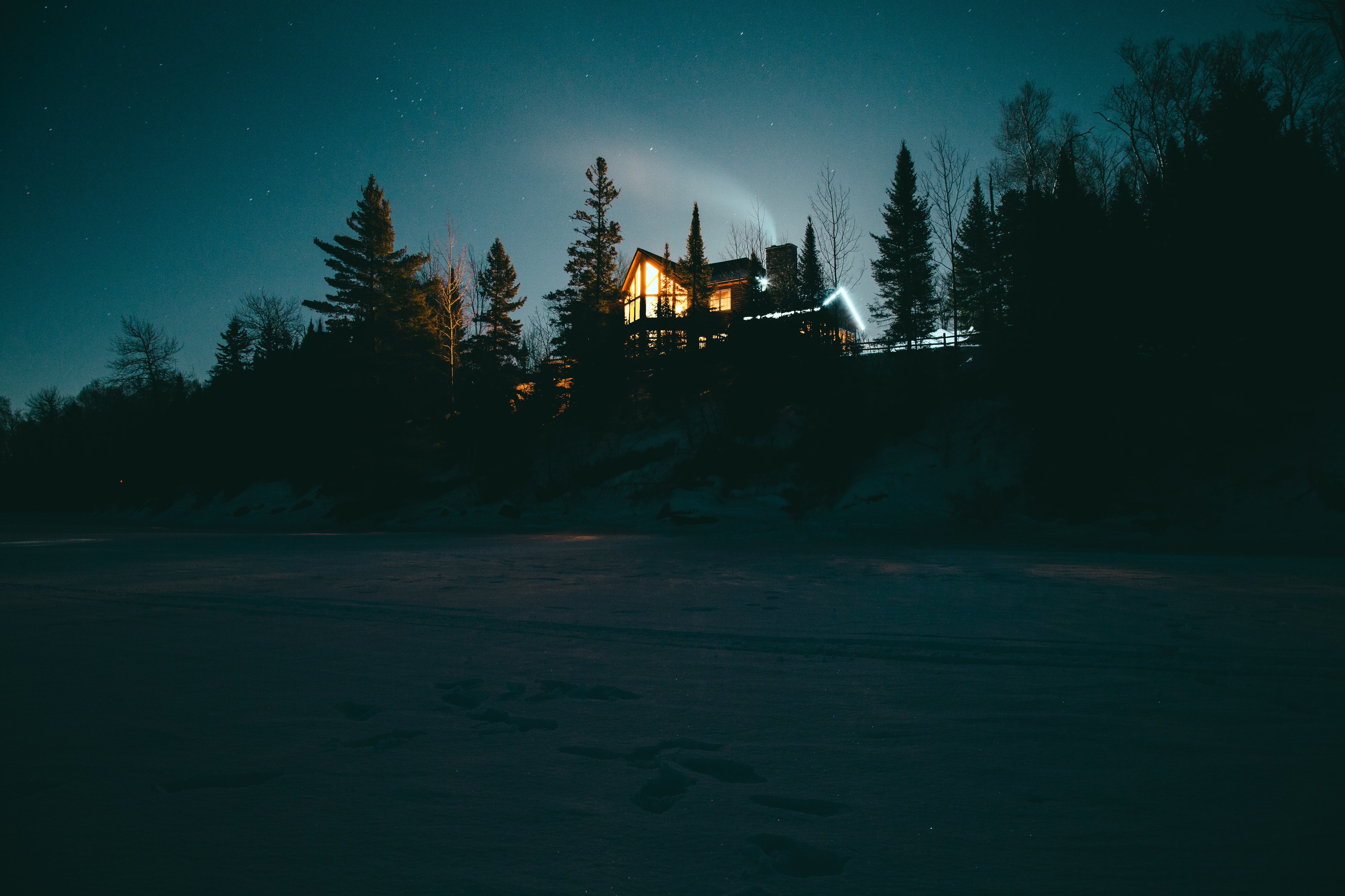 house surrounded by trees during night