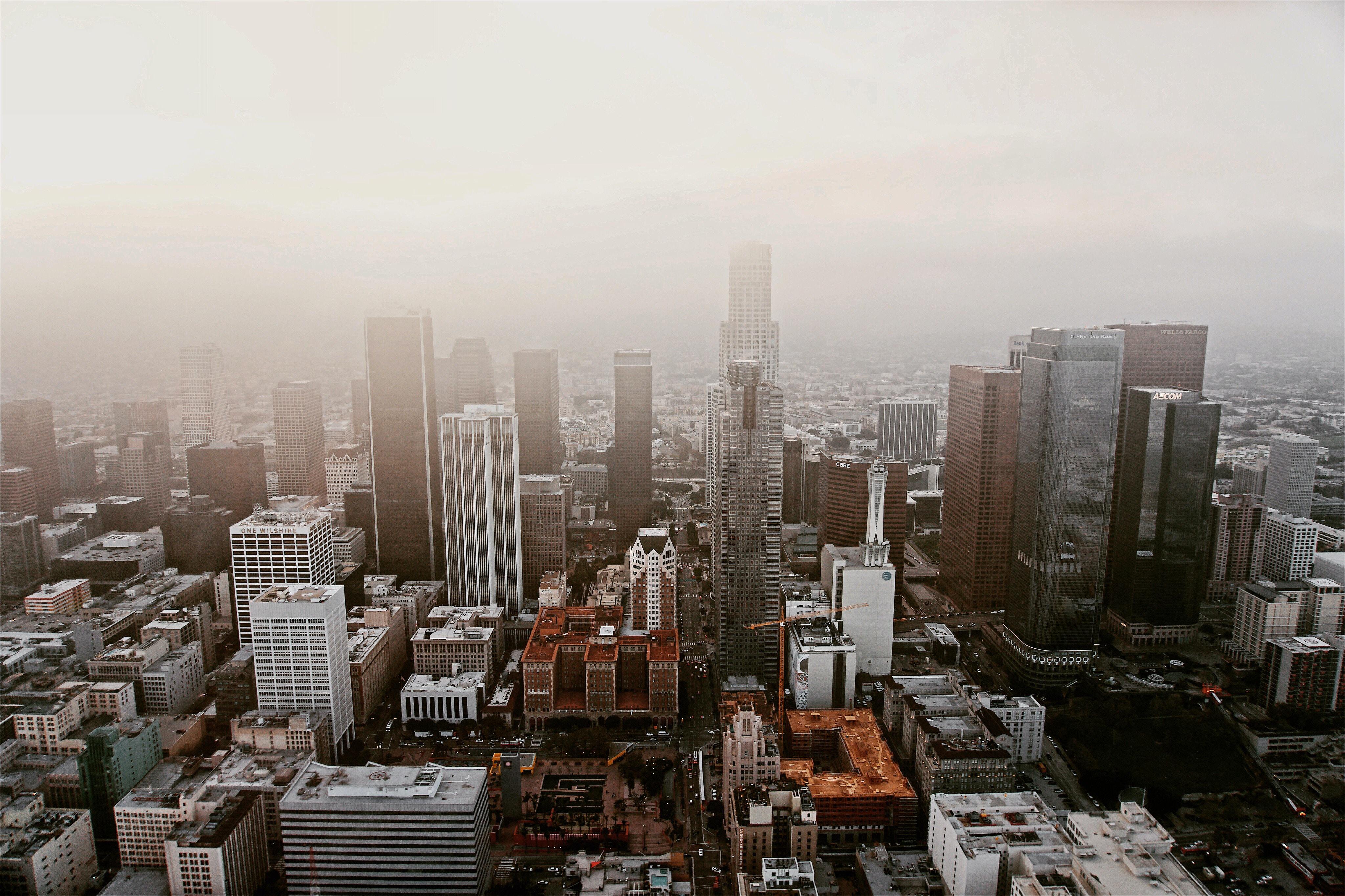gray high-rise buildings under white sky