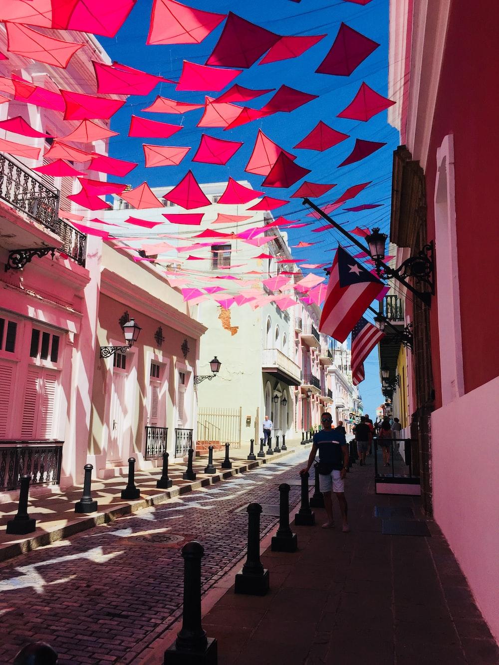 red kite pennants on street