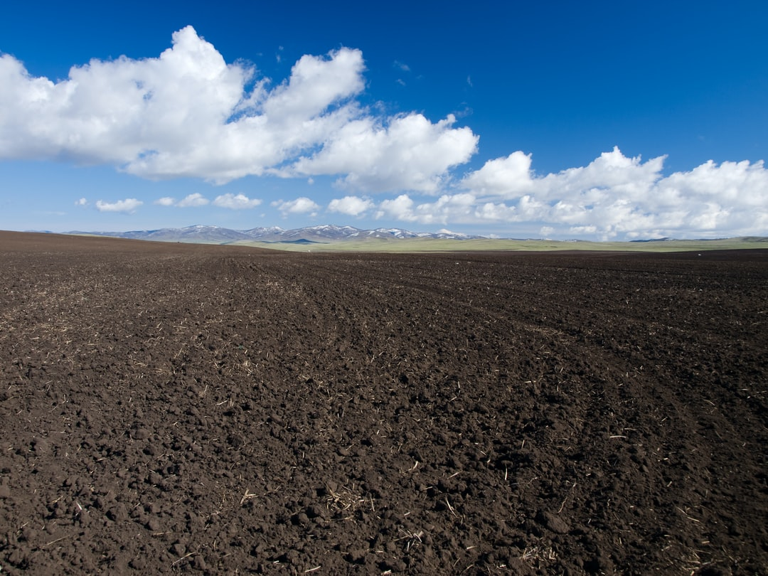 Freshly ploughed field and mountains landscape